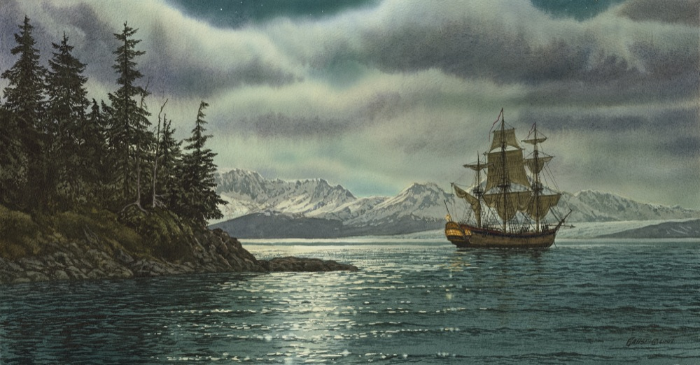 Cook's Ship HMS Resolution under the Northern Lights